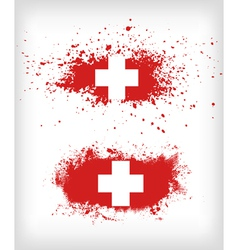 Grunge ink splattered flag switzerland vector