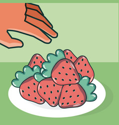 Hand grabbing strawberries vector