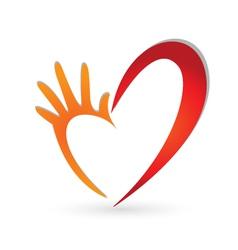 Hand heart shape logo vector