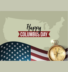 Happy columbus day flat design greeting card vector