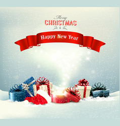 holiday christmas background with a presents and vector image