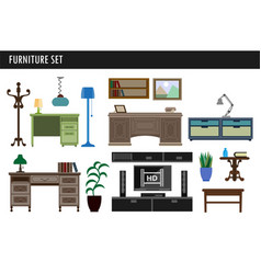 home and office furniture chair table desk and vector image