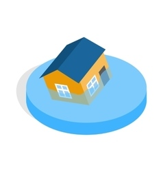 House sinking in a water icon isometric 3d style vector