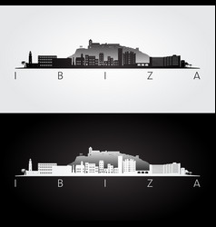 ibiza skyline and landmarks silhouette vector image