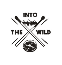 into the wild - outdoors adventure silhouette vector image