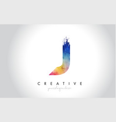 j paintbrush letter design with watercolor brush vector image