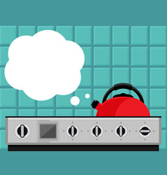 Kitchen kettle on gas stove flat vector