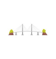 Large and long suspension cable bridge metal vector