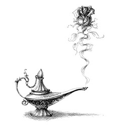 Magic lamp and rose love concept original idea vector