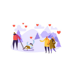male and female characters in love on winter vector image