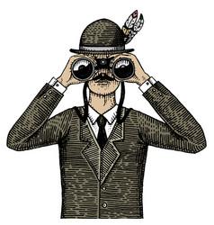 Man in costume looking through binoculars vector