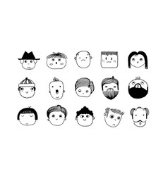 minimal doodle avatars hand drawn human faces vector image
