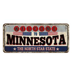 minnesota vintage rusty metal sign vector image