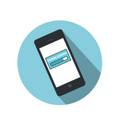 mobile phone downloading icon flat design vector image