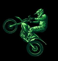 motocross jump on black background vector image