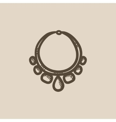 Necklace with gems sketch icon vector image
