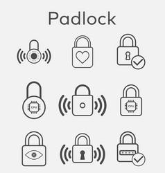 outline padlock icon set vector image