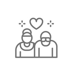 pensioners elderly couple seniors line icon vector image
