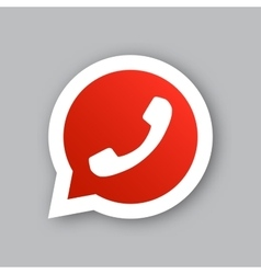 phone handset in red circle speech bubble icon vector image