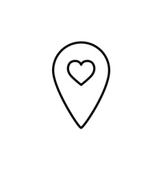 Pin location with heart line icon vector