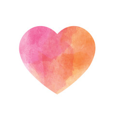pink heart with watercolor texture design simple vector image