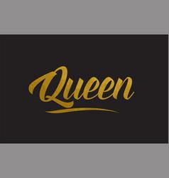 Queen gold word text typography vector