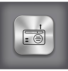 Radio icon - metal app button vector image