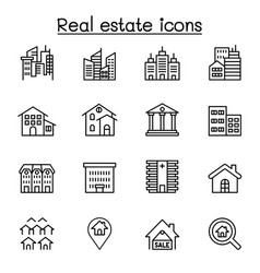 real estate building icon set in thin line style vector image