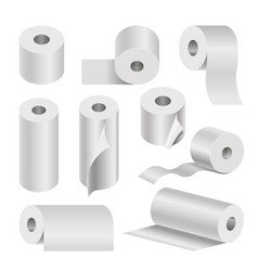 Realistic rolled toilet and towel paper poster on vector