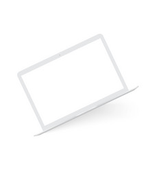 Realistic white laptop mock up vector