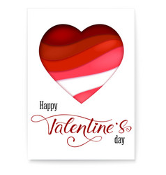 red heart from paper with cut out layers simple vector image