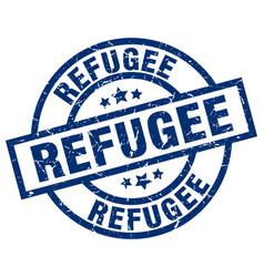 Refugee blue round grunge stamp vector