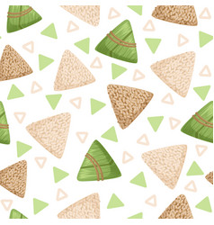 Rice dumpling with bamboo leaf seamless pattern vector