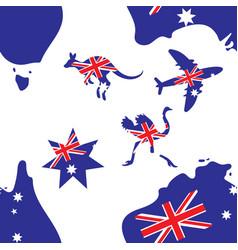 Seamless background australia map plane kangaroo vector