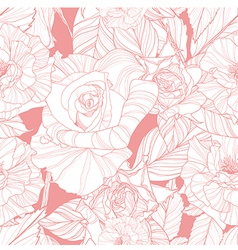 seamless pink pattern with roses vector image