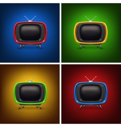 Set retro color tv with background vector