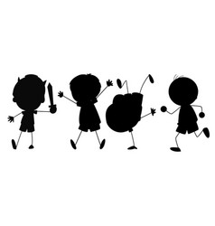 silhouette graphic boy vector image