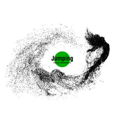 silhouette of a jumping girl from particles vector image