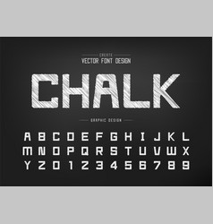 Sketch font and alphabet chalk square typeface vector