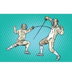 Sports fencing on swords vector