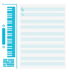 Synthesizer and musical staff vector