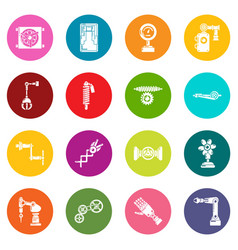 Technical mechanisms icons set colorful circles vector