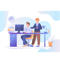 Two businessmen working together in an office vector
