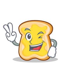 Two finger slice bread cartoon character vector