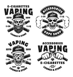 Vaping and electronic cigarettes emblems vector