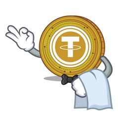 Waiter tether coin mascot cartoon vector