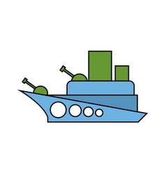 Warship child drawing style military combat boat vector