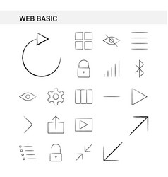 web basic hand drawn icon set style isolated on vector image