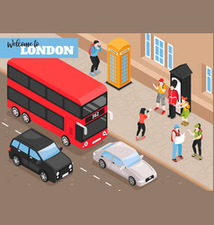 welcome to london isometric background vector image