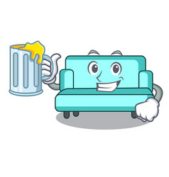 with juice sofa mascot cartoon style vector image